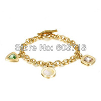 2014 Spring Colorful Charm Chain Bracelet,18K Yellow Gold Plated Chain with 3 Stylish Charms,Elegant Charm Bracelet For Women