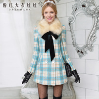 4ag Woolen outerwear female autumn and winter medium-long 2013 plaid double breasted wool coat wool