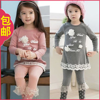 2013 autumn big boy child children's female clothing child baby long-sleeve T-shirt casual set female