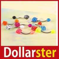 [Dollar Ster] 10Pcs Pretty Colorful Dice Style Navel Belly Button Barbell Ring Body Piercing 24 hours dispatch