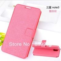 Silk pattern Leather Shell with TPU Case  function Dust plug for Samsung Galaxy NOTE 3 N9000 N9002 N9005 N9008