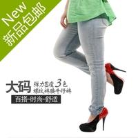 2013 autumn cotton denim jeans for fat lady skinny fashion pants plus size pencil long pants fat girl big size long trousers 445