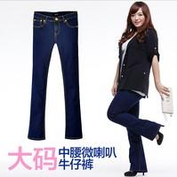 Autumn plus size flare jeans fat lady elastic long trousers slim figure big size bell bottom pants long blue female jeans 444