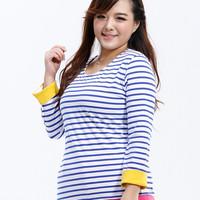 Autumn 2013 plus size tshirt for fat lady o-neck stripe fashion big size t-shirt basic shirt spring cotton shirt casual 417