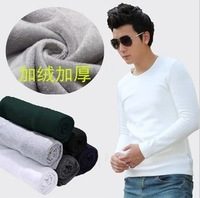 Basic shirt male plus velvet long-sleeve t-shirt male winter thickening t clothes shirt 2013 100% cotton