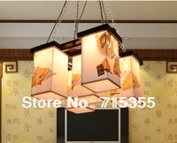 2014 seconds kill sale freeshipping foyer chinese style american pendant light 5 restaurant lamp wooden lamps antique sheepskin