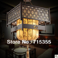 Ancient Chinese luxury sheepskin lamp chandelier vintage antique living room dining classical engineering light wood to build