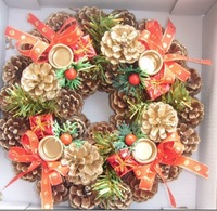 whosale & free shipping, christmas wreath decoration,christmas garland, door trim,diameter: 25cm