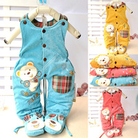 Glutinous rice children's clothing infant winter trousers cartoon corduroy cotton-padded bib pants