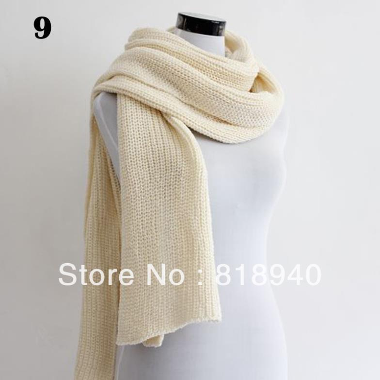 Men Women Knit Scarf Cable Crochet Chunky Long Pashmina Muffler Wrap Shawl Black(China (Mainland))