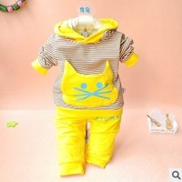 Glutinous rice children's clothing infant children's clothing spring and autumn set candy color cat loop pile elastic set