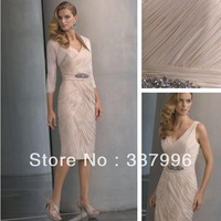 Custom Made Top Quality Pleated Sleeveless Sheath Natural Waist Chiffon V Neck Casual Pleated Bodice Mother Of The Bride Dress