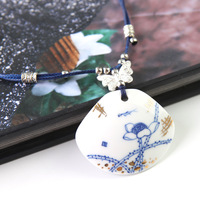 Free shipping Gold unique blue and white porcelain handmade necklace pendant female a223