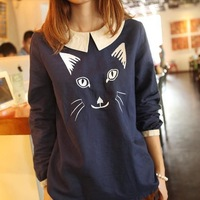 Women spring/autumn Japanese style cat Embroidery Doll Collar blouse cotton shirt