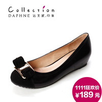 Daphne women's shoes 1213404014 bow serpentine pattern round toe shallow mouth single shoes elevator