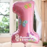 Anagram aluminum foil aluminum balloon pink digital 1 1 girl baby