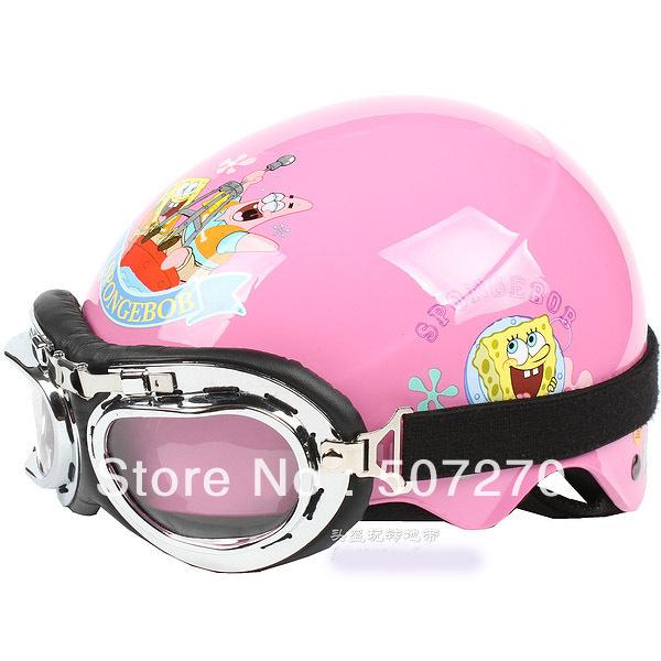 "D.24 Taiwan ""HUA TAI"" Safety Half Face Casque Child Racing Children's Casco Electric "" Spongebob "" Pink Kids Helmet & Goggles(China (Mainland))"