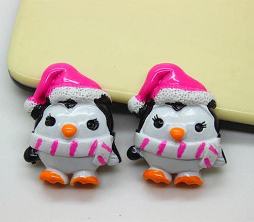 free shipping 50pcs cute penguin with hot pink Xmas Santa hat winter resin flat back cabochon for hair bow center scrapbooking(China (Mainland))