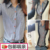 2013 women's spring preppy style slim plaid shirt denim shirt female long-sleeve