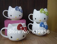 free shipping 2pcs Hello Kitty Ceramic Cup Tea Milk Coffee Mug White with different color Bowknot