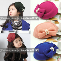 2015 New fashion fascinator hats 10color hair accessories Girl/Woman Woolen pearl bow hair clips Cocktail bridal hairpin FJ2569