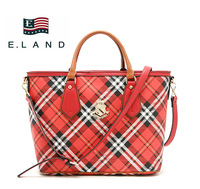 Fashion brand red plaid check leather women's exquisite handbag high quality handbags unique leather zippertote bags for dress