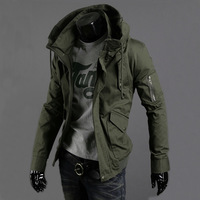 Autumn and winter men's clothing outerwear Army Green male military jacket slim thickening jacket