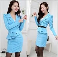 2013 blue elegant turn-down collar ruffle tight-fitting dress lady office work dress 30222