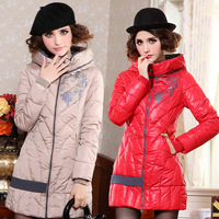 2013 autumn and winter cotton-padded jacket down wadded jacket print slim medium-long patchwork women's down cotton