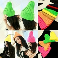 2013 New Fluorescent Color Line Cap Hat Unisex Solid Color Warm Plain Acrylic Knit Ski Beanie Skull Hat