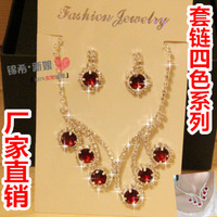 Luxury multicolour the bride red blue amethyst necklace wedding dress cheongsam formal dress accessories piece set chain