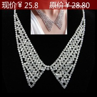free shipping Bride bling vintage elegant full rhinestone crystal bow collar false peaked collar necklace elegant chain
