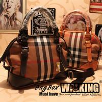new 2013 designers brand vintage canvas genuine leather plaid women handbag totes fashion hobos mochila elegant messenger bags