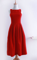 2013 a-bow French vintage elegant one-piece dress big red formal dress full dress female