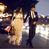 Luxury diamond low-high bride and bridesmaids wedding dress evening dress short dress design