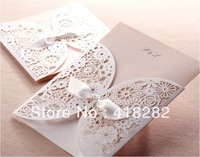 free shipping 50 pcs/lot Elegant White Hollow Lace Wedding Invitation Card with Envelope,Seal,blank inside card Party supply