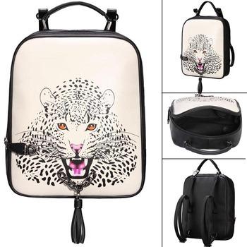 2014 Women's Handbag Fashion Leopard Head Print Backpack Casual Preppy Style Fashionable Animal Handbag Free Shipping 8834