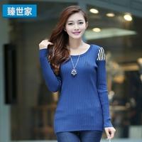 2013 women's pullover slim chiffon long-sleeve basic knitted sweater shirt