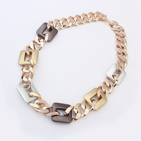 New 2014 fashion brand design short chains necklace jewelry acrylic gold plated chunky chain necklaces free shipping #100504