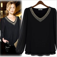 2014 fall new European and American high-density black and white thick long-sleeved chiffon shirt bottoming shirt women fashion