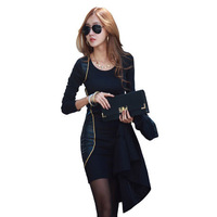 Free Shipping 2014 New Arrival Plus Size Slim Basic Skirt Full One-piece Dress Female Sexy Patchwork S,M,L,XL,2XL RG1311707