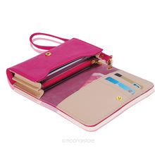 Multifunctional Women s Envelope Wallet Purse PU Leather Clutch Bag Solid Phone Case Cover for iPhone