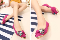 2013 flat shoes flat heel genuine leather rhinestone metal beaded bow pointed toe low dipper shoes