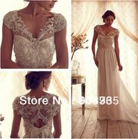 2014 New Arrival Elegant A Line Short Sleeves V Neck Bow Beaded Long Train Swarovski Crystal Wedding Dresses Bridal Gowns  Abby