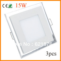 3x 15W  Acrylic square LED Panel  Light  LED Recessed Ceiling Energy saving Panel ceiling Light  Ultrashin Warm White Cool White