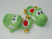 "Free shipping Retail 1 pair Green yoshi slipper Yoshi slippers Super Mario Yoshi 11"" Adult Soft Plush Stuffed Slippers Green"
