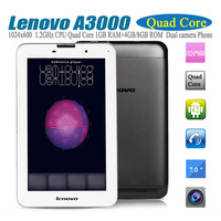 Lenovo A3000 7 Inch 1024*600 IPS MTK8389 Quad core 1G RAM 4G/16G ROM 3G tablet Phone Call  Bluetooth Dual Camera