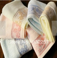 Free Shipping Hotsell New Style Face Towel100% cotton Twistless  Ribbon Creative Lotus,74*33cm Blue,Pink,Beige
