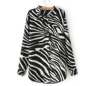 New 2014  Women  Vintage Horse Striped Print Blouses Shirts For Women Europe Women Collar Cheap Blouses wholesale