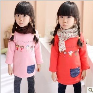 Autumn and winter 2013 cartoon decals plus velvet girls dress children long design t dress basic free shipping(China (Mainland))